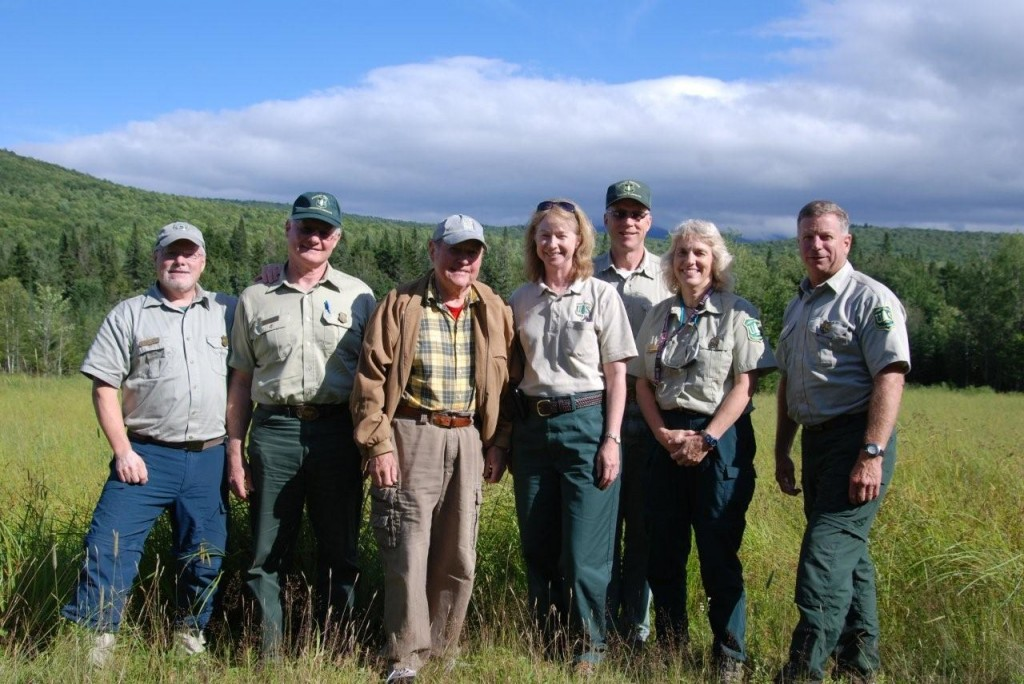 Left to Right: Roger Simmons, WMNF Ecosystem Team Leader, Dee Hines, WMNF Deputy Forest Supervisor, David Willcox, Randolph Community Forest, Kathleen Atkinson, Eastern Region Regional Forester, Bill Dauer, WMNF Technical Services Team Leader & Forest Engineer, Katie Stuart, Androscoggin District Ranger, Tom Wagner, WMNF Forest Supervisor. Photo courtesy of John Scarinza, Chair, Randolph Community Forest Commission.