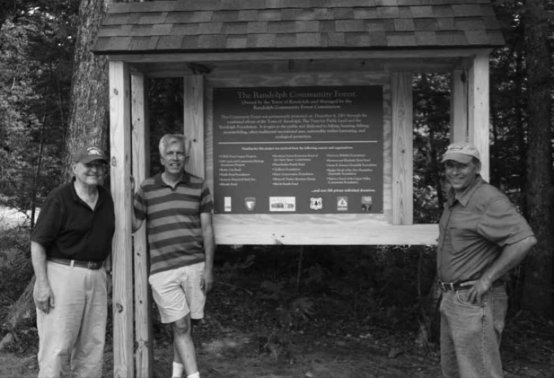 David Willcox, left, Walter Graff, and John Scarinza were at the core of the effort to purchase and place a conservation easement on the land that is now the Randolph Town Forest. Photo courtesy of Jenn Barton.