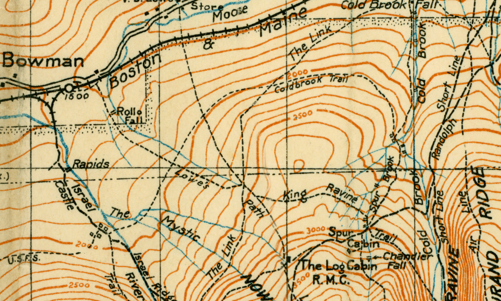 The Lowe's Path, when it began at Bowman, used to pass Rollo Falls, as shown in this detail from Louis F. Cutter's 1928 map of the Mt Washington Range. Courtesy of Judy Hudson.