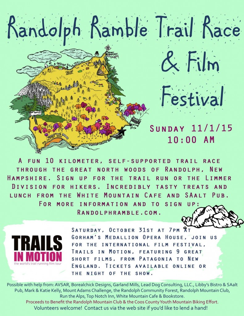 The flyer from the Randolph Ramble, which will take place on the Randolph Community Forest.