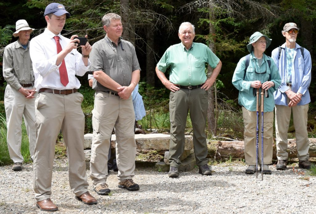 Those on hand at the new canoe access on Aug. 6 at the Pond of Safety in Randolph to thank retired USFS Androscoggin District Ranger Katie Stuart of Shelburne or her efforts were: George Dunham, left; Senator Woodburn's campaign aide who is a senior at Woodsville H.S.; county forester Brendan Prusik and wildlife biologist John Lanier, both of Columbia, and Susan and Louis Kern. (Edith Tucker photo)